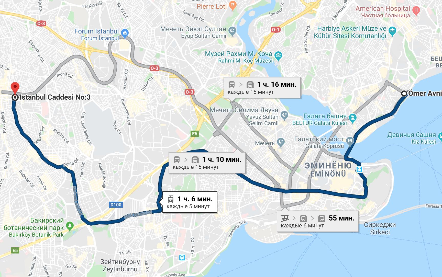 Маршрут трамвая T1 в Стамбуле