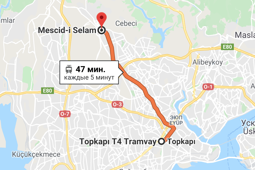 Маршрут трамвая T4 в Стамбуле