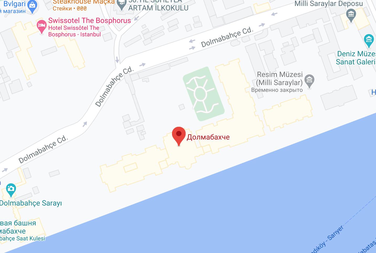 Дворец Долмабахче на карте Стамбула