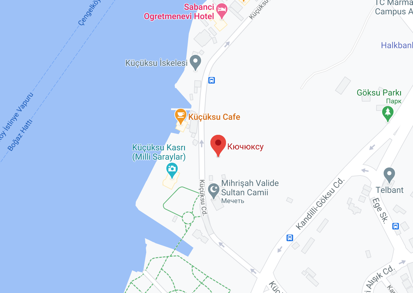 Дворец Кучуксу на карте Стамбула