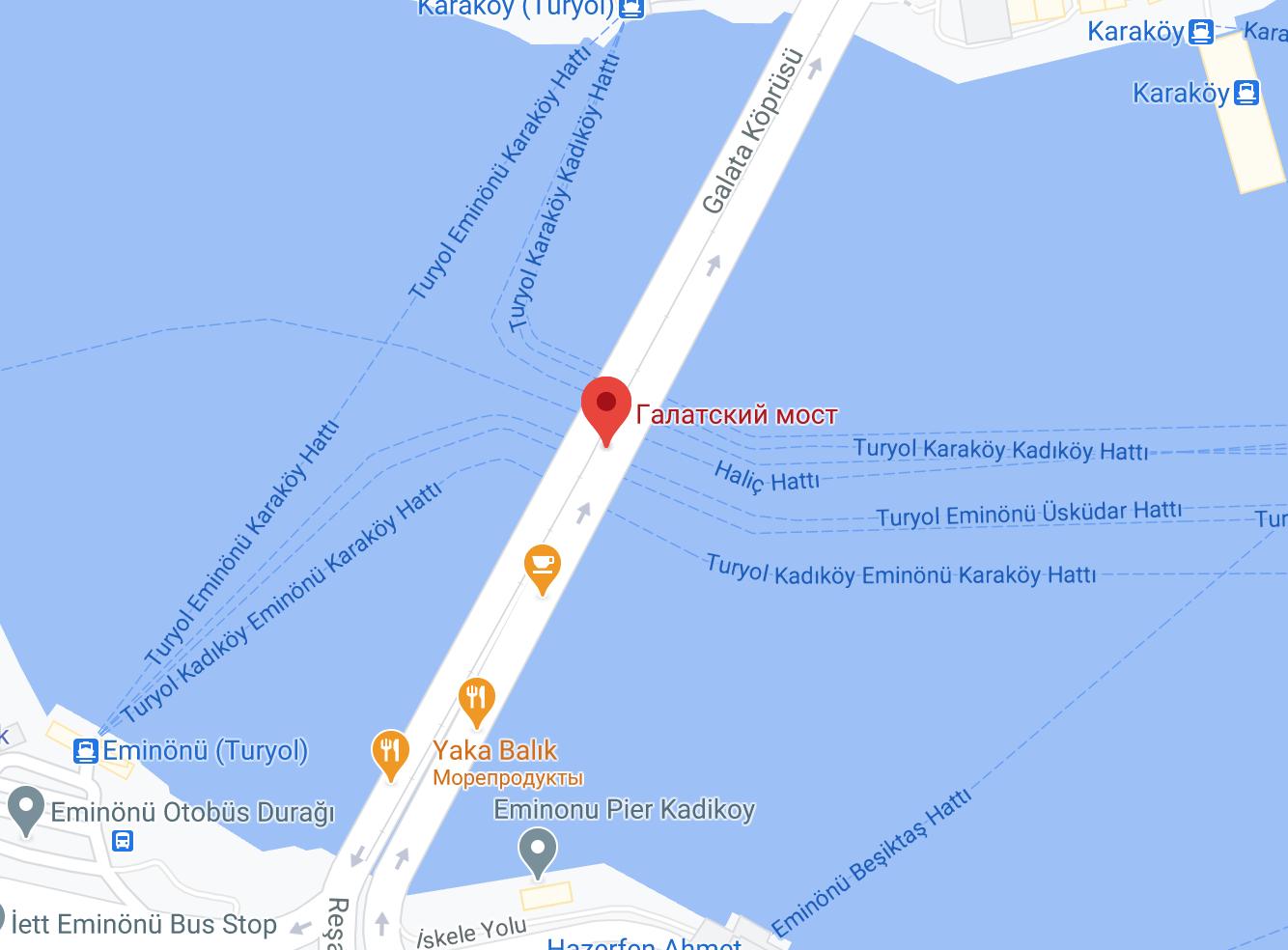 Галатский мост на карте Стамбула