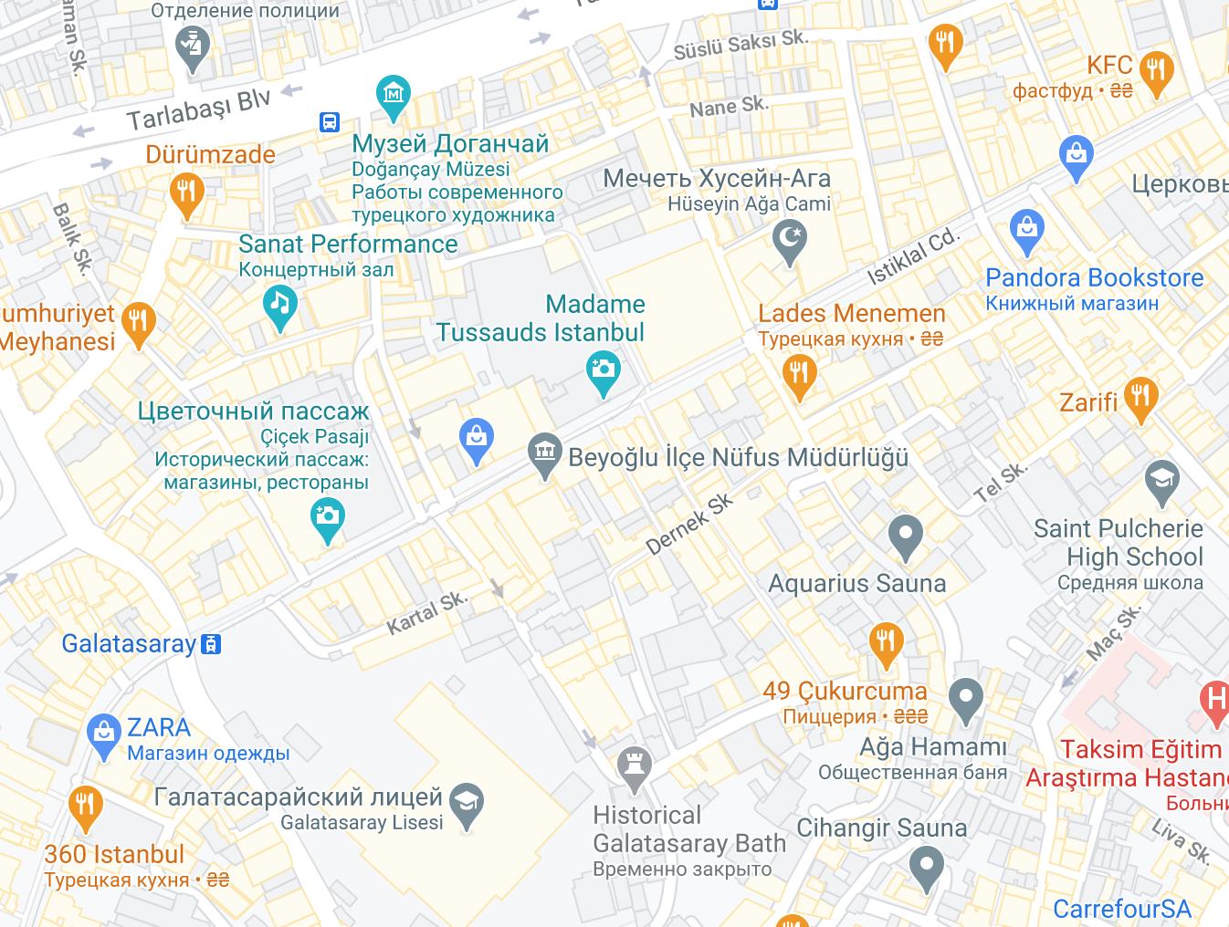 Проспект Истикляль на карте Стамбула