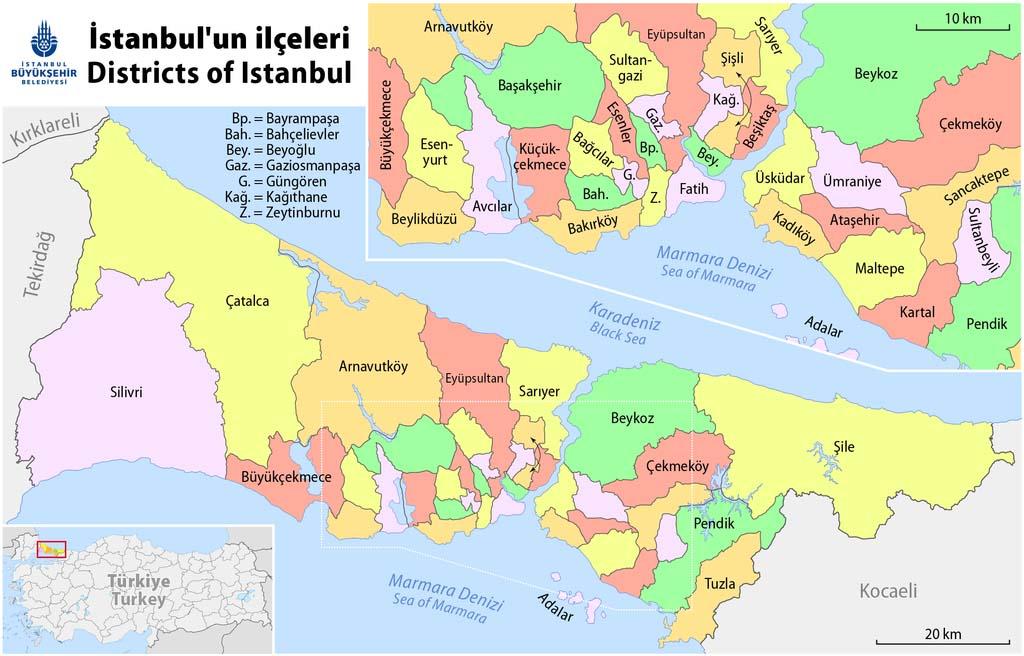 Все районы Стамбула на карте