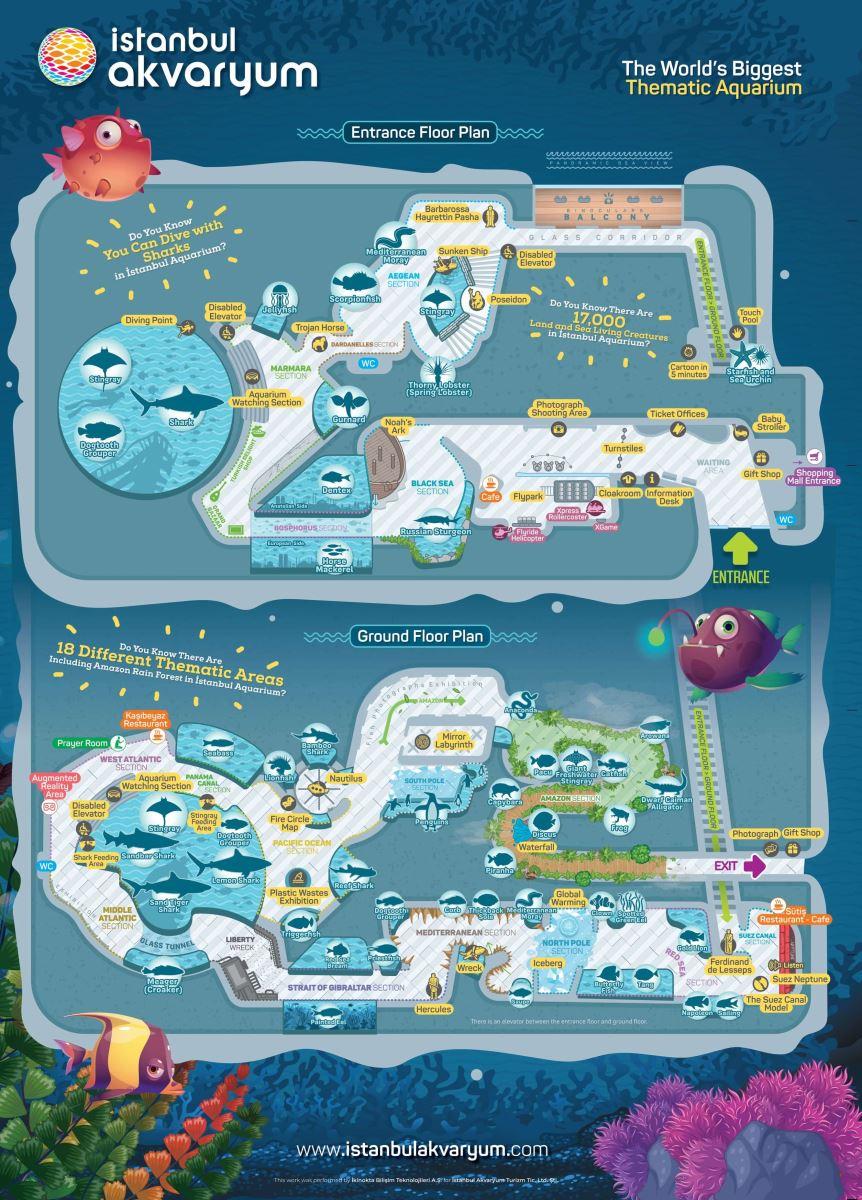 План прогулки по океанариума Флориа